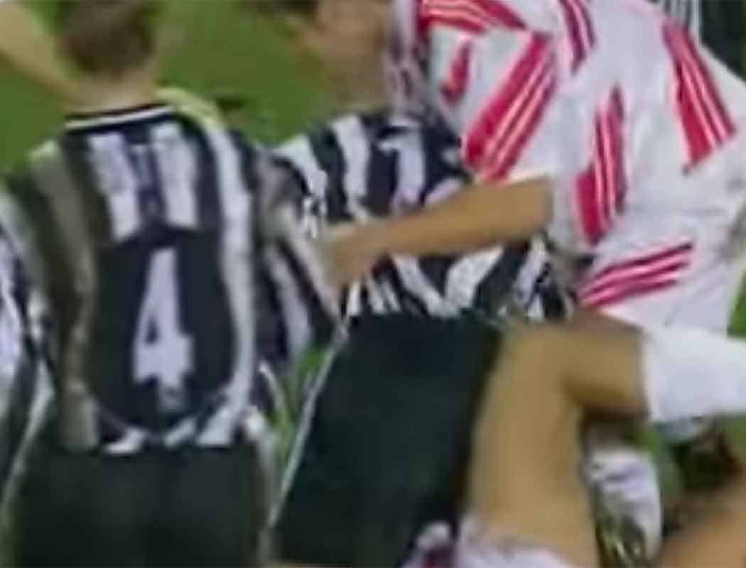 It got niggly between us and Newcastle at Sid James' park too; one brave Boro' boy deciding to take on Stuart Pearce.