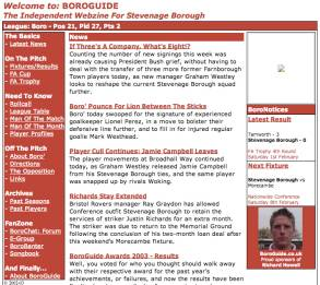 The First Edition: In our early years, the 'independent webzine' for Stevenage FC wasn't the prettiest website on the block...