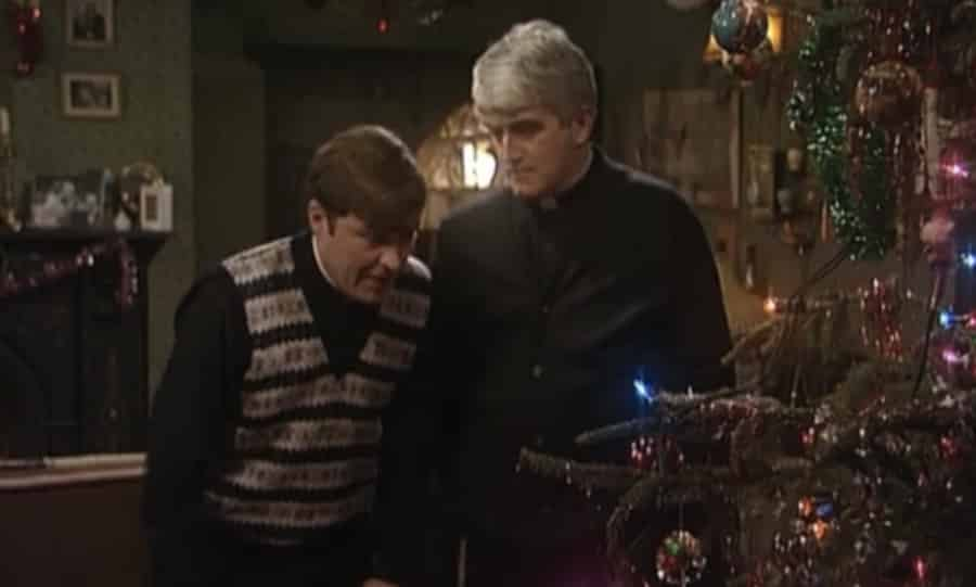 Father Ted and Father Dougal with Christmas Tree