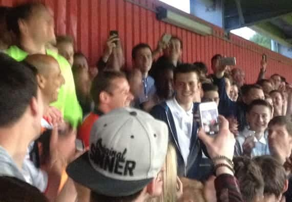Match For Mitch: In keeping with the spirit of the evening, Graham Westley joined the supporters on the East Terrace along with Ashley Bayes and Dino Maamria for songs and drum-banging. Stimmo also came across.