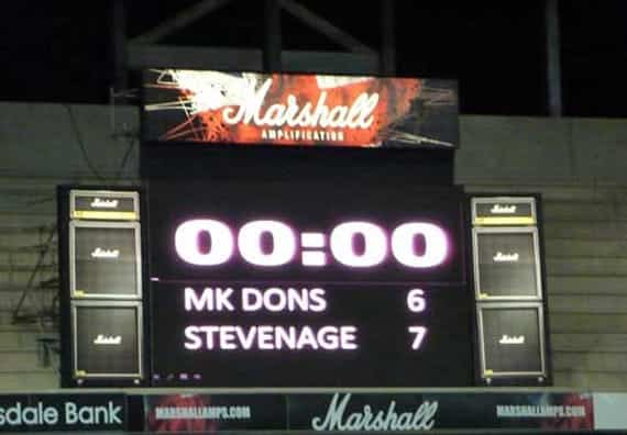 Penalty Perfect: MK Dons were favourites to see off the challenge of Stevenage in the FA Cup in 2010-1, after taking Boro' back to theirs in a replay. A late Darius Charles goal helped the game towards penalties, which Boro' won...