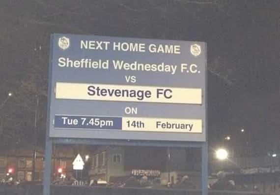 Wednesday Double: After smashing Sheffield Wednesday by five goals to one at Broadhall Way in 2011-2, the return fixture came on Valentine's Day 2012. Boro' held their nerve to win by a solitary Scott Laird effort at Hillsborough...