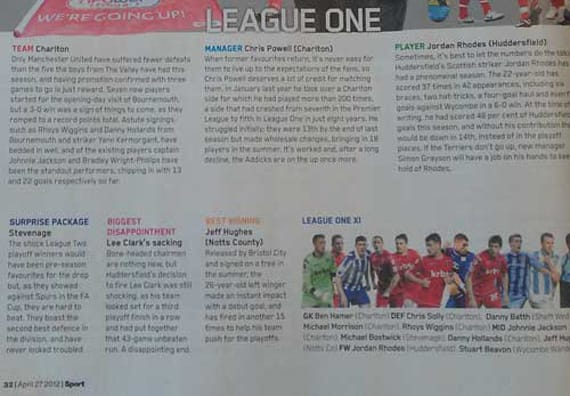 Sport Magazine: Boro's unprecedented success in reaching the higher reaches of League One during the 2011-2 season didn't go unnoticed by the media, with Sport magazine among those who were dishing out some plaudits in April