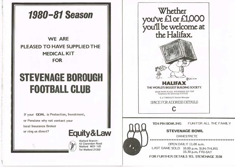 Good use of the word 'goal' in the Equity & Law advert, who laid on our medical kit for the 1980-1 campaign