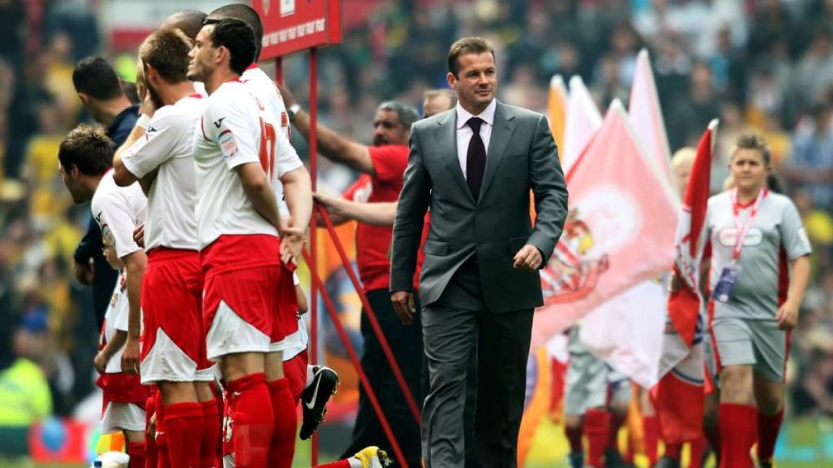 Graham Westley walking out at the 2011 League Two playoff final
