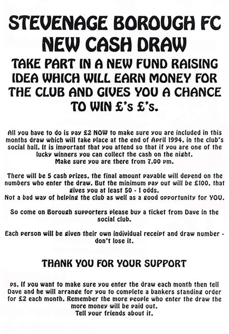 Details of a new cash draw designed to help raise money for Stevenage Borough FC in 1994