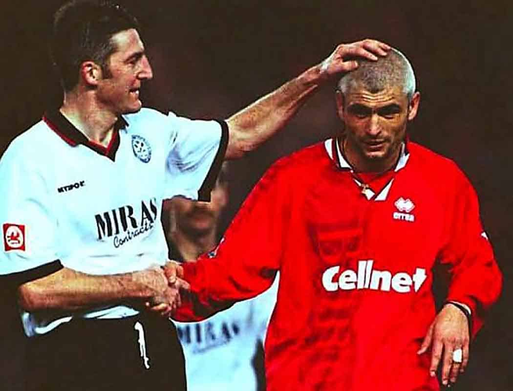 It's against another Boro' that Hednesford Town are perhaps best remembered from the 1990s...