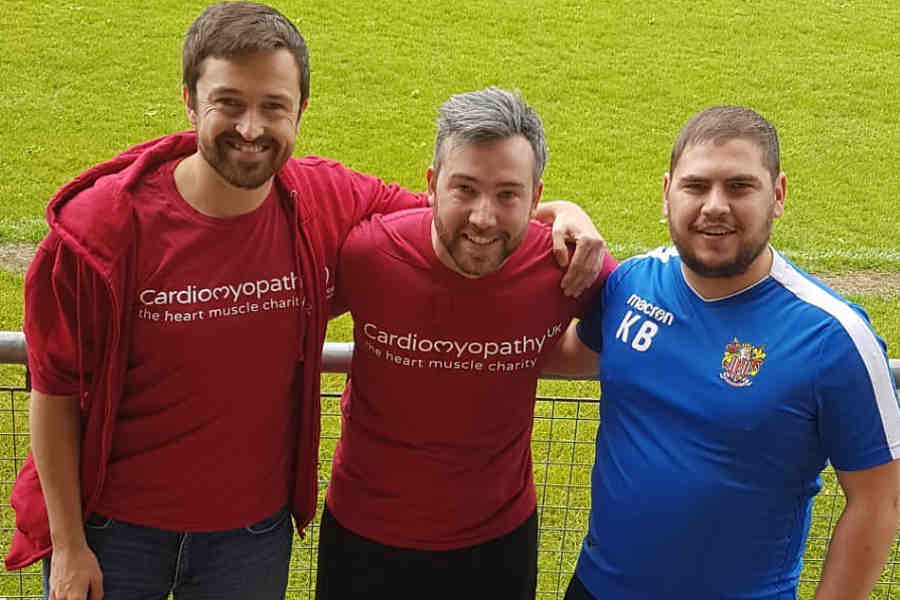 Christie Jones from Cardiomyopathy UK (left), Ben Cole and Keith Bell at the Mitchell Cole Tournament 2019