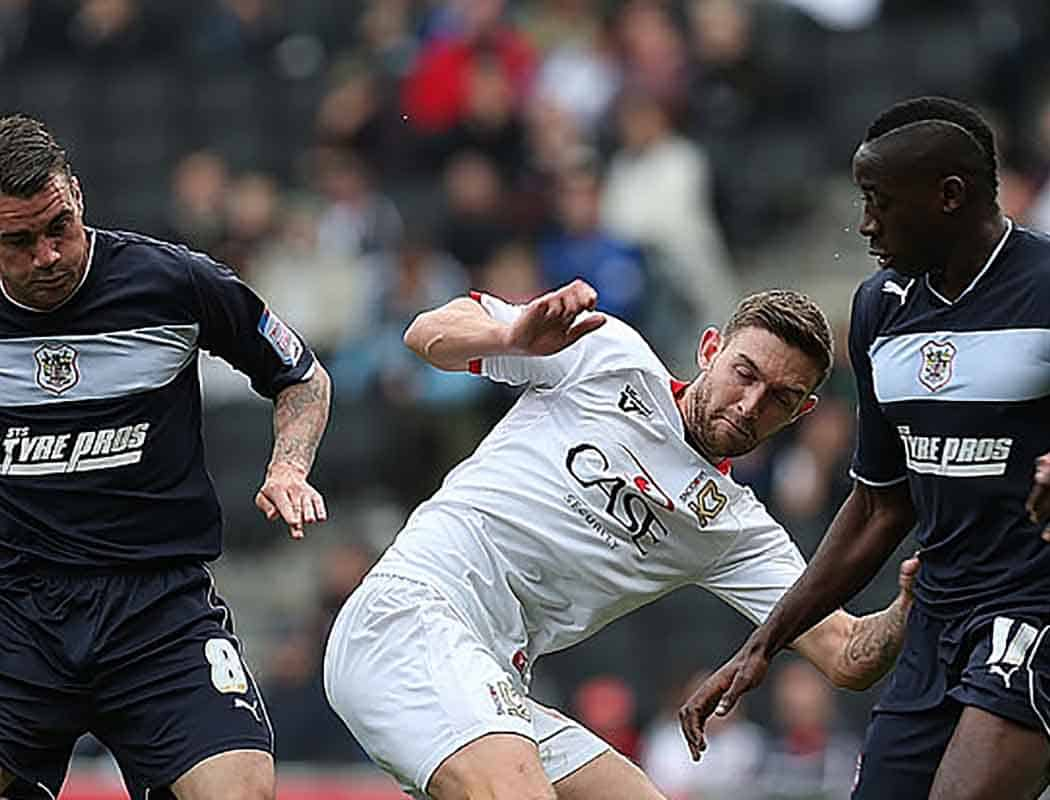 Jay O'Shea in action for MK Dons AGAINST us