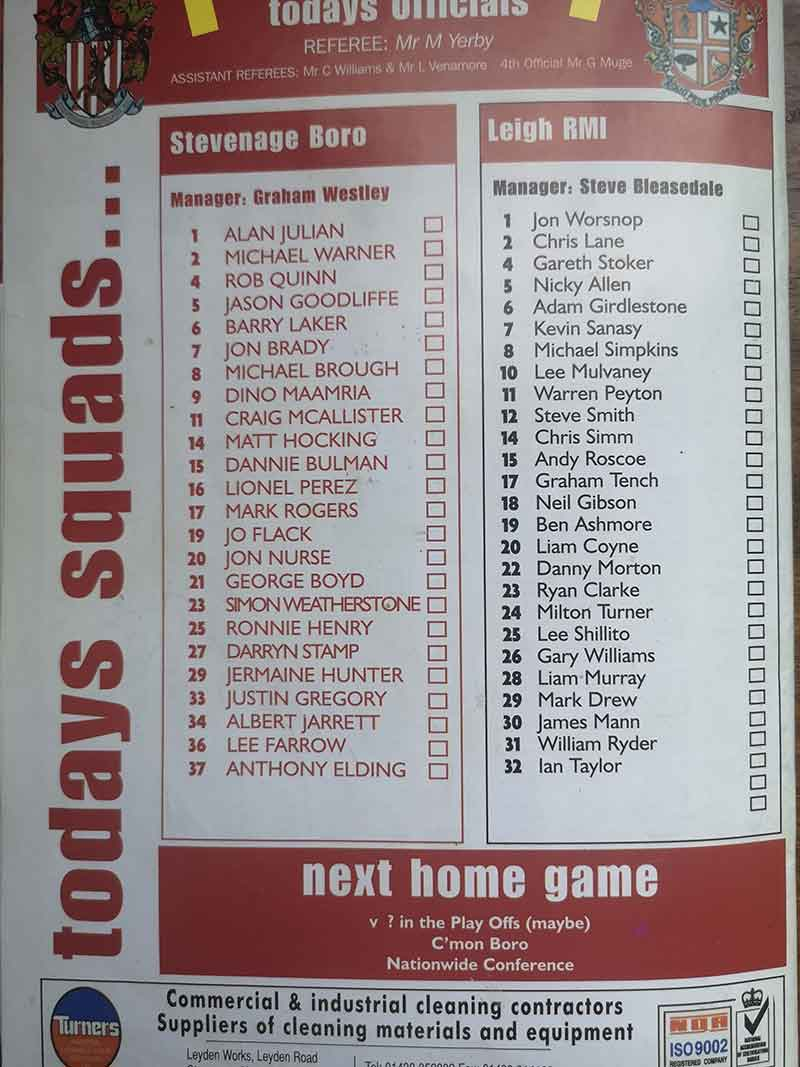 Back page from the programme vs Leigh RMI (2005)
