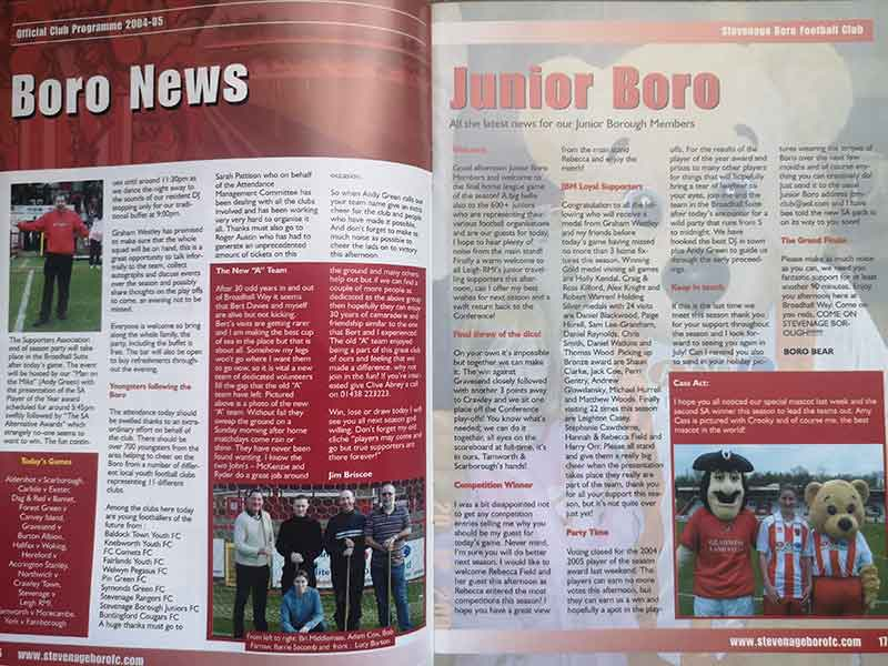 Latest Boro' news from the programme vs Leigh RMI (2005)