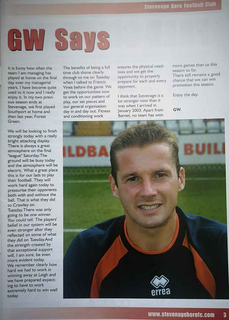 Graham Westley programme notes vs Leigh RMI (2005)