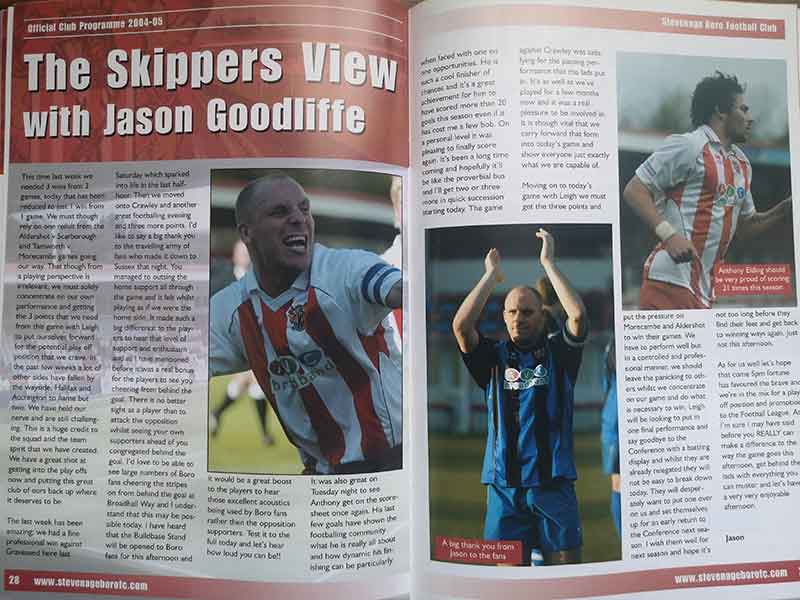 Jason Goodliffe programme notes vs Leigh RMI (2005)