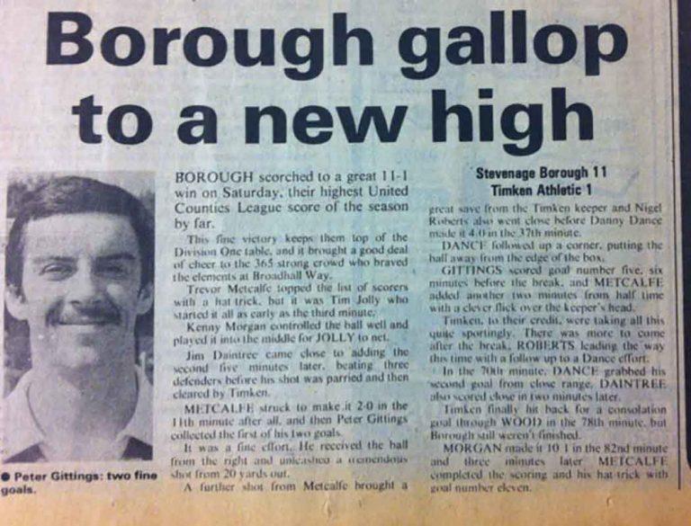 Stevenage Borough 11-1 British Timken Athletic