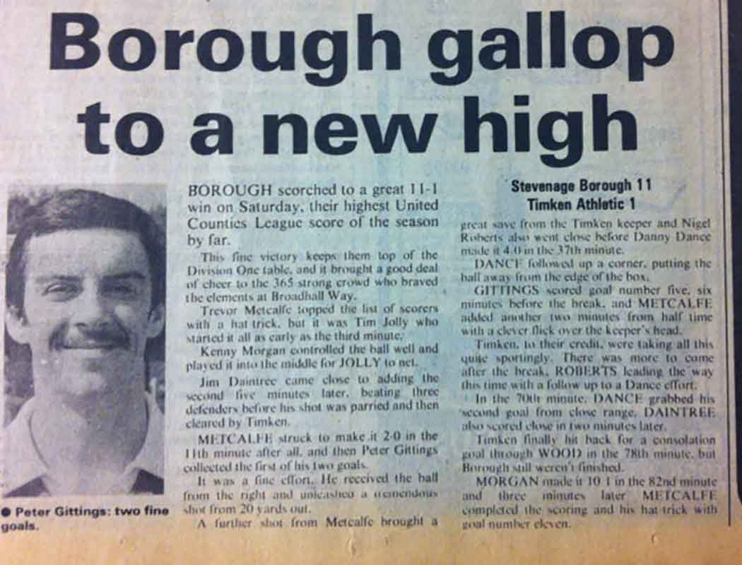 Stevenage Borough 11-1 British Timken Athletic: How The Comet reported it afterwards...