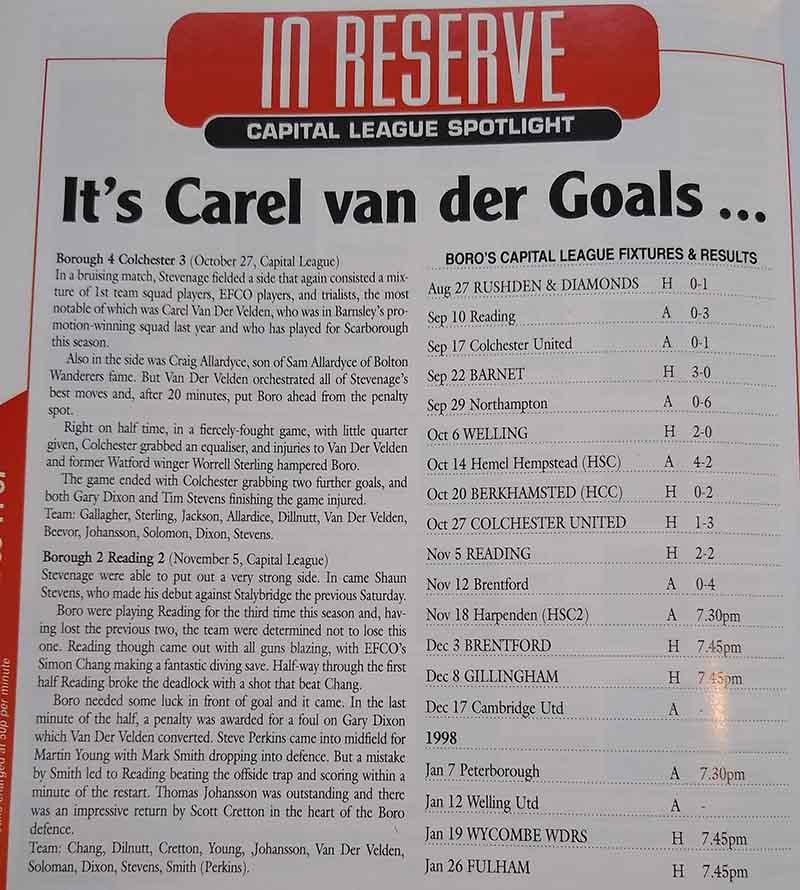 """Not sure the """"Carel van der Goals"""" headline works for us, Clive"""
